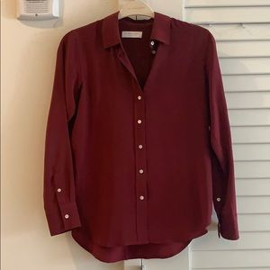 The Relaxed Silk Shirt - Burgundy